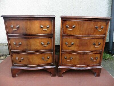 Pair Of Antique Style Mahogany Bedside Chests, Cabinets, Tables, 3 Drawers, Tidy • 285£