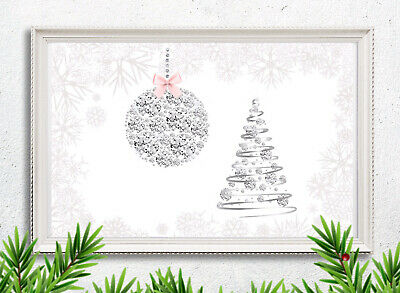 £5.47 • Buy Christmas Picture Print Tree Bauble Diamanté Silver Pink Xmas Wall Decor A4