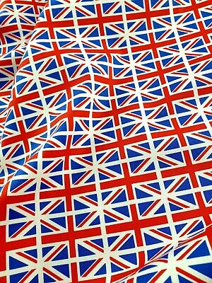 100% Cotton Poplin Fabric, 112cm Wide Mini Union Jack Flag Print By Meter, Mask • 6.99£