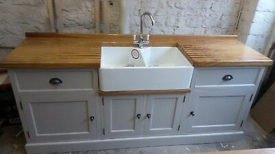 Painted Freestanding Kitchen / Utility Double Belfast Sink Unit - Solid Wood • 2,400£