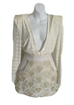 AU200 • Buy Zhivago White & Gold Stunning Top & Mini Skirt Size: S $300 REDUCED TO $200
