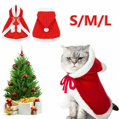 Pet Cat Santa Costume Dog Christmas Small Coat Outfit Clothes Hoodie Jumper Xmas • 5.86£