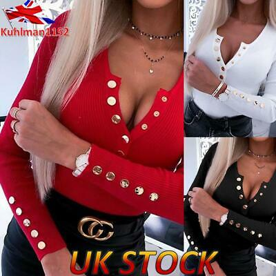 Women V Neck Zip Up Knitted Tops Long Sleeve Slim Fit Ladies Sexy Blouse Shirt • 12.79£