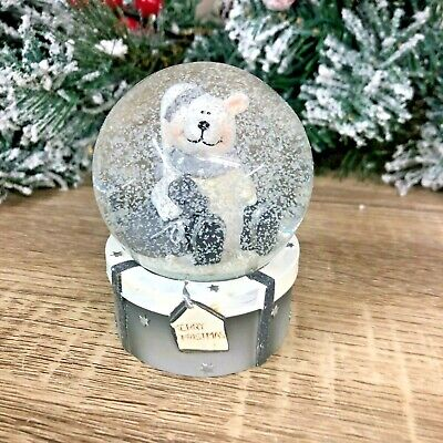 Polar Bear Grey & White Merry Christmas Snow Globe 7509 • 12.95£