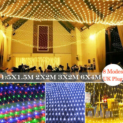 Outdoor LED String Net Lights Christmas Curtain Mesh Garden Tree Decoration UK • 8.19£