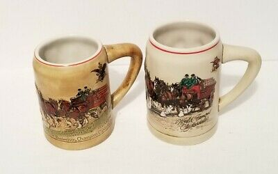 $ CDN26.12 • Buy Lot Of 2 1980 Budweiser Champion Clydesdales Holiday Beer Mug Stein 1st N Series