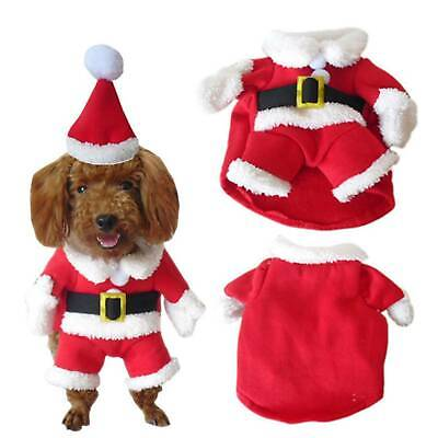 UK Pet Dog Cat Christmas Costume Santa Claus Cosplay Fancy Dress Clothes Outfits • 5.79£