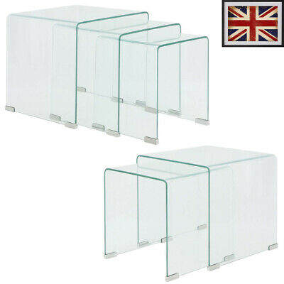 2/3 Pcs Nesting Table Set Side Coffee End Table Tempered Glass Clear Nightstand • 233.59£