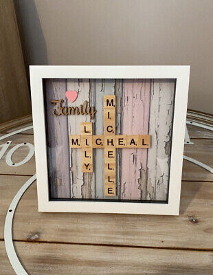 Personalised Family Scrabble Letter Box Frame Picture Present Mum Dad • 14.79£