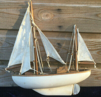 Old Vintage Wooden Pond Yacht Sailing Boat Ship Toy Display Model 1950s 1960s • 19.99£