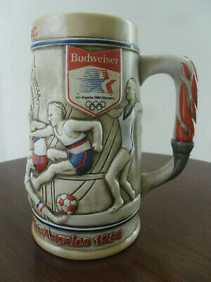 $ CDN15.71 • Buy BUDWEISER Beer Stein Mug 1984 Los Angeles Olympics  Boxing Soccer, Diving