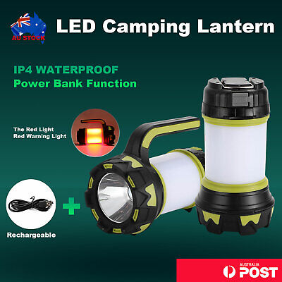 AU23.59 • Buy  Rechargeable LED Camping Lantern Outdoor Tent Light Lamp & Power For Phone 1x