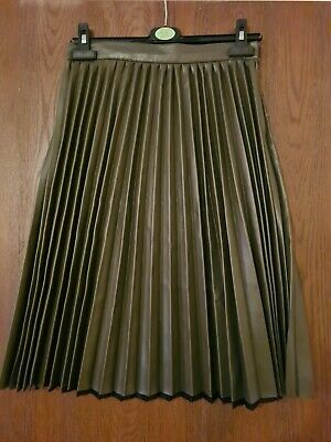 Womens Primark Atmosphere Green Faux Leather Pleated Knee Length Skirt Size 10 • 2.10£