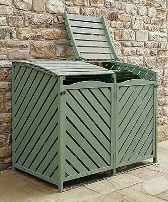 £199.99 • Buy Double Wooden Wheelie Bin Store Storage Sage Green Garden Cover Recycling Out...