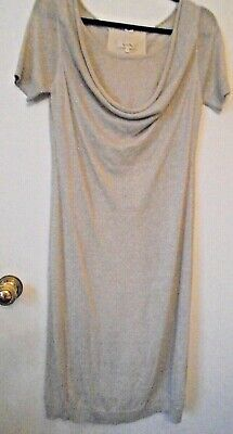 £75 • Buy By Ti Mo Lovely Knit Dress Cowl Neck Silver Metallic Thread Size 's'