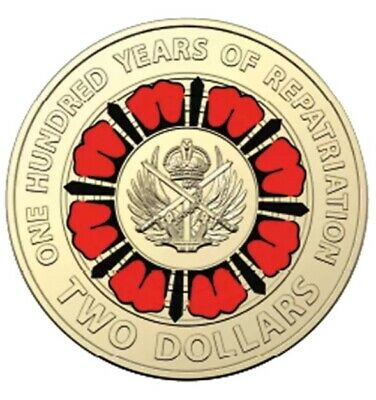 AU8.50 • Buy 2019 $2 Dollar 100 Years Of Repatriation  RED COLOURED COIN - Low Mintage