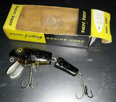 $ CDN32.67 • Buy Paw Paw # 312 Black Speckled Vintage Antique Jointed Fishing Lure New In Box