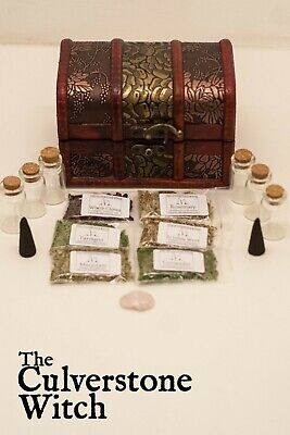 Starter Herb Chest Kit A - Witch Wicca Pagan Witchcraft Charm Spells Ritual • 14.99£