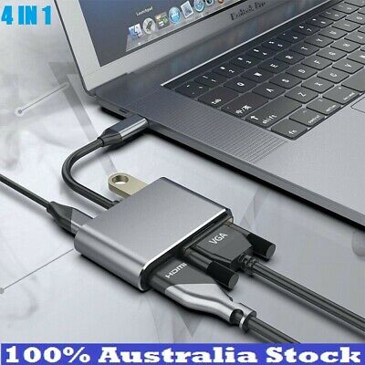 AU37.88 • Buy 4in1 Multiport Type C Hub USB 3.0 HDMI VGA USB-C Charging Adapter Cable IPad AUS