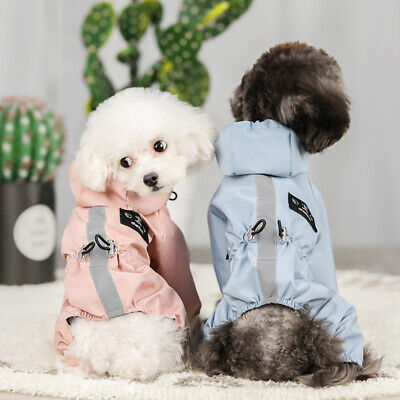 Dog Clothes Rain Coat 4 Legs Pet Raincoat Hoodie For Small Middle Dog Reflective • 10.89£