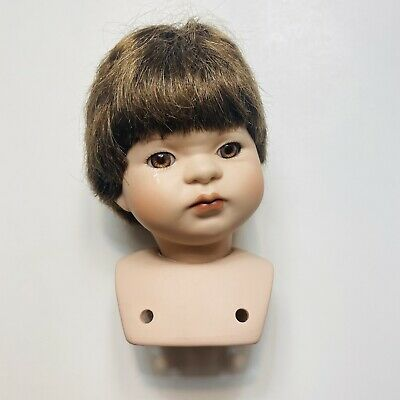"$ CDN14.33 • Buy VTG Porcelain Doll Head 4 1/4"" Short Brown Wig Eyes Parts Swivel Child Crying"