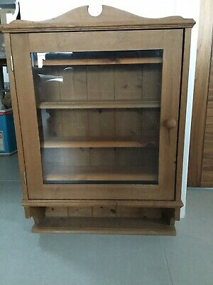 Pine Wall Hung Glass Fronted Displat Cabinet • 30£