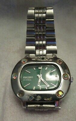 $ CDN13.03 • Buy Vintage SEIKO AUTOMATIC 23 JEWELS WATCH - WORKS - Green Face / Stones