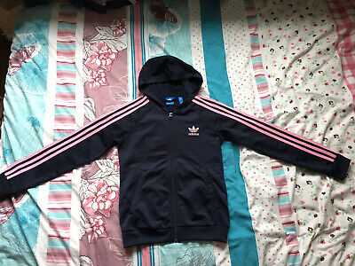 Junior Girl Adidas 3-Stripes Full Zip Hooded Track Top, Size 11-12 Years • 5£