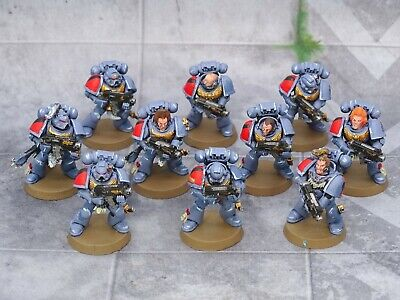 40k Space Marines Space Wolves TACTICAL SQUAD 10 Figures Painted GW 73265 • 14.99£