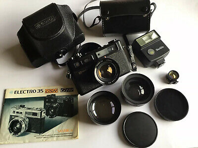 YASHICA ELECTRO 35 GT Rangefinder Camera, With Auxilary Lenses And Flash • 80£