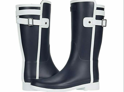 £60 • Buy ***cheapest On Ebay*** Womans Hunter Wellies Slim Fit Short Contrast Navy/white