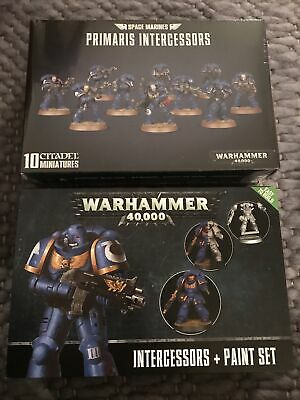 Warhammer 40000 Space Marines Primaris Intercessors  Miniatures And Paint Set • 17£