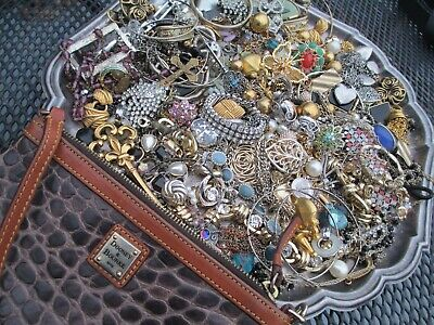 $ CDN32.67 • Buy HUGE! Vintage To Now JUNK DRAWER Jewelry Lot Unsearched W/ Dooney Wallet