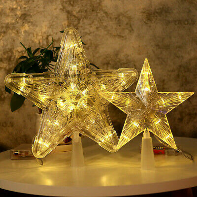 Xmas Ornament Christmas Tree Topper LED Light Up Star Tree Home Party Decor UK • 10.79£