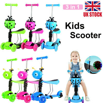 3in1 Kids Child Scooter 3 Wheel Toddler Beginner Kick Scooters Adjustable Seat • 17.99£