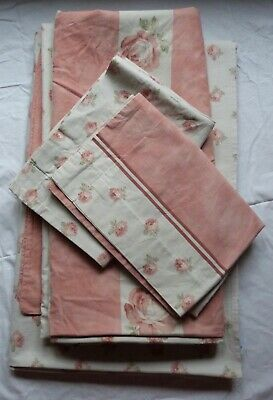 Yves Delorme Pink Duvet Cover, 2 Oxford Pillowcases And Flat Sheet. Relisted • 30£