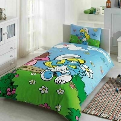 Smurfie Themed Kid's Cotton 3pcs Bedding Set 63X86in - Fitted Sheet, Duvet Cover • 39.87£