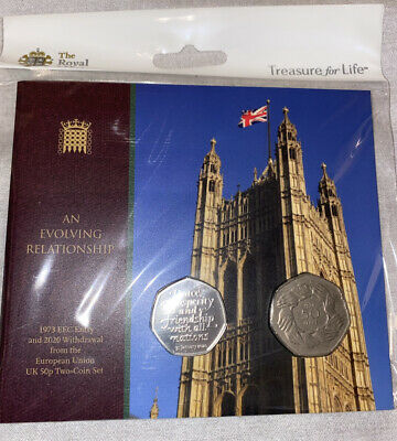 1973 EEC Entry And 2020 Withdrawal From The EU 50p Two-Coin Set • 50£