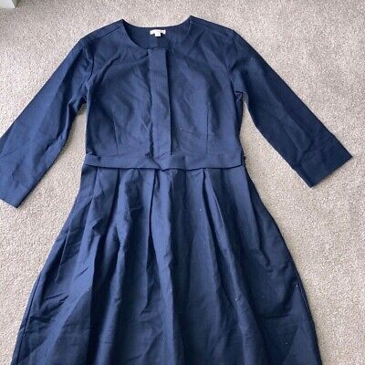 GAP Navy Pleated Structured Work Occasion Dress US Size 4 UK Size 8 • 1£