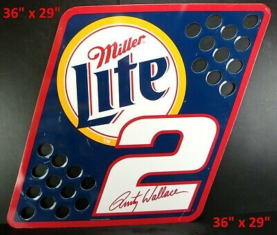 $129 • Buy Vintage 2001 Miller LITE  Rusty Wallace METAL PIT FLAG Wall Sign NASCAR 36 X29