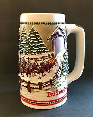 $ CDN11.77 • Buy 1984 Budweiser Holiday Stein CS62 Covered Bridge Clydesdales Anheuser Busch