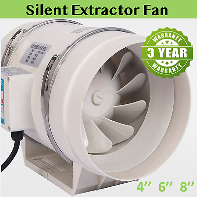 AU46 • Buy 4/6/8 Inch Silent Extractor Fan For Extractor Duct Hydroponic Inline Exhaust