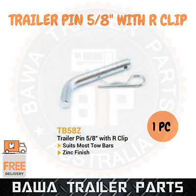 AU9.90 • Buy 1 X Trailer Pin 5/8  With R Clip Zinc !! Trailer Parts !! Hitch Pin Lock !!