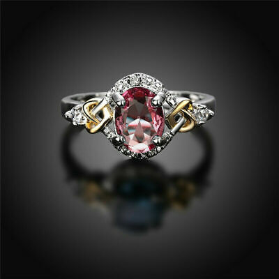❤️Ring Size O 9ct White Gold Over Oval❤️Ruby Diamonds Oval Silver UK FREE Post❤️ • 5.99£