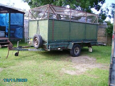 AU650 • Buy Tandem Cage Trailer LESS ONE AXLE 3580mm X 1830mm X 1800mm Height 3000Kg Cap