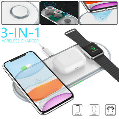 AU28.99 • Buy 3in1Qi 10W Wireless Charger Fast Charging Dock Station For Airpods Iwatch IPhone