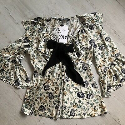 Bnwt Zara Ecru And Green Floral Printed Blouse With Contrast Bow Size M • 19.99£