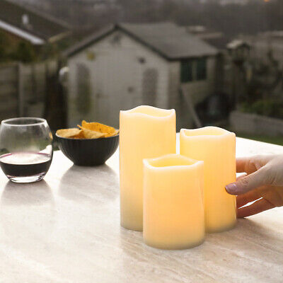 £12.99 • Buy Outdoor Battery Power Ivory Flickering LED Pillar Candle Lights