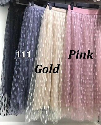 Women Ladies Tulle Mesh Skirt Elastic High Waist Layers Pleated Long Dress Party • 7.48£