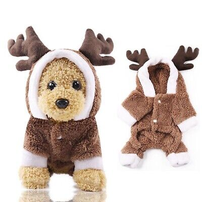 Christmas Pet Reindeer Outfit Xmas Dog Cat Coat Puppy Costume Hoodie Clothes UK • 6.55£